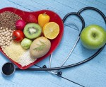 Healthy food on heart plate with stethoscope