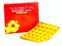 A blister strip and a box of Folic Acid 5mg Generic Tablet