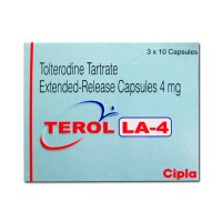 Box of generic Tolterodine 4mg capsules