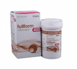 A box and a bottle of generic Beclometasone (400mcg) + Formoterol (6mcg) Rotacap