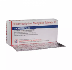 A box and a strip of Parlodel  1.25 mg Generic tablets - Bromocriptine