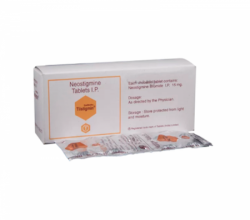 A box and a blister strip of Prostigmin 15mg Generic tablets-  Neostigmine