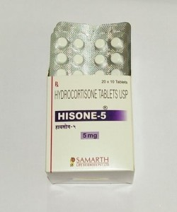 A blister strip and a box of Cortef 5 mg Generic tablets - Hydrocortisone