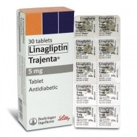 A box and a blister of Tradjenta 5mg tablets - Linagliptin