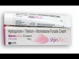 A tube and a box of Hydroquinone (2%) + Mometasone (0.1%) + Tretinoin (0.025%) 20gm Generic Cream