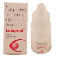 A box and a bottle of Lotemax 0.5 Percent Generic Eye Drop 5 ml - Loteprednol etabonate