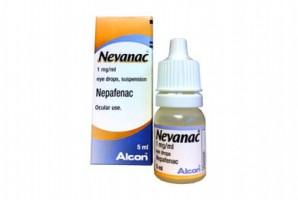 A box and a bottle of Nevanac 0.1 Percent 5ml eye drop - Nepafenac