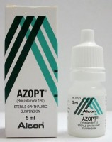 Box and a bottle of Azopt 1 Percent 5ml eye drop - Brinzolamide