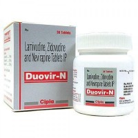 A box pack and a bottle of Lamivudine (150mg) + Zidovudine (300mg) + Nevirapine (200mg) Generic Tablet