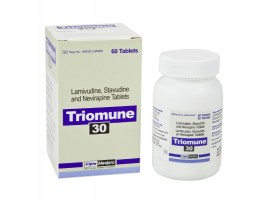 A box and a bottle of Lamivudine (150mg) + Stavudine (30mg) + Nevirapine (200mg) Generic Tablet