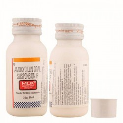 Front and back side of plastic bottle of generic Amoxycillin Oral Suspension 250mg Dry Syrup 60ml
