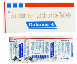 A box and strip pack of generic Galantamine 4mg Tablet