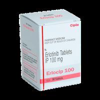 A box of generic Erlotinib (100mg) Tablet