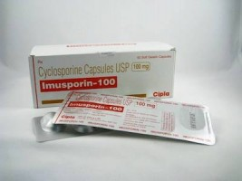 A box and a strip pack of Cyclosporine  100mg Capsule