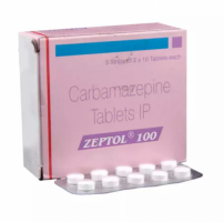 A box and a blister pack of generic Carbamazepine 100mg Tablet