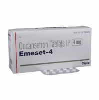 A box and a strip of generic Ondansetron 4mg Tablet