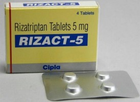 A box and a blister of generic Rizatriptan 5 mg Tablet