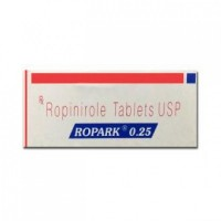 A box of generic Ropinirole 0.25 mg Tablet
