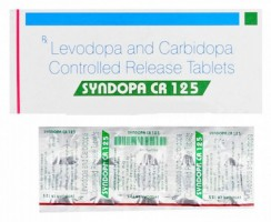 A box and a strip of generic Levodopa (100mg) + Carbidopa (25mg) Tablet