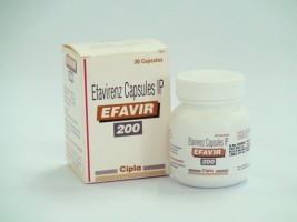 A box and a bottle of generic Efavirenz 200 mg Capsules