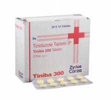 Box and blister strip of generic  Tinidazole 300 mg Generic Tablet