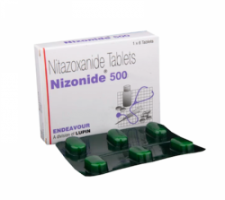 Blister strip and a box of generic Nitazoxanide 500 mg Tablet