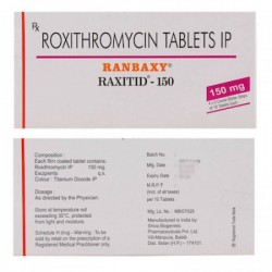 Front and back of the box of generic Roxithromycin 150 mg Tablet