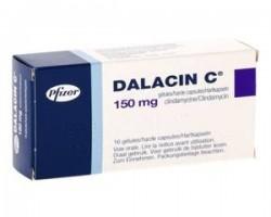 A box of generic Clindamycin (150mg) Capsule