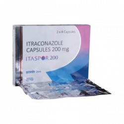 A box and a strip pack of generic Itraconazole  200mg Capsule