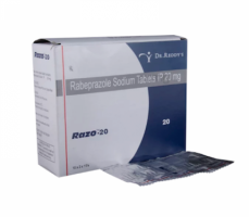 Box and blister strip of generic Rabeprazole Sodium 20mg tablets