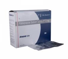 Box and blister strip of generic Rabeprazole Sodium 20mg tablets