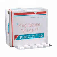 Box and blister strip of generic Pioglitazone Hydrochloride 30mg tablets