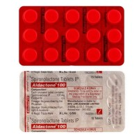 Back and front of generic Spironolactone100mg Tablets blister strip