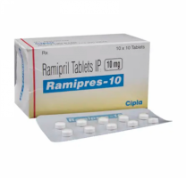 Box and blister strip of generic Ramipril 10mg capsules