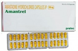 A box and three strips of generic Amantadine HCL 100mg tablets