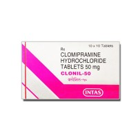 White and pink coloured box of generic Clomipramine 50mg tablets