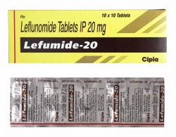 A box and a strip of generic Leflunomide 20mg tablets