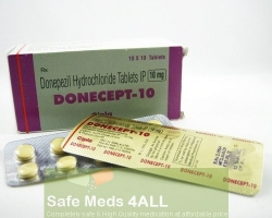 A box and blister pack of generic Donepezil HCl 10mg tablets