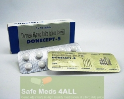 A box and a blister of Donepezil HCl 5mg tablets