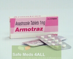 A box and a blister pack of generic Anastrozole 1mg tablets