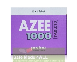 A box pack of generic azithromycin  1000mg tablet