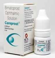 A box and a dropper bottle of Careprost Eye Drops 0.03, 3 ml Eye Drops - Bimatoprost