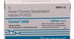 Box of generic Human chorionic gonadotrophin ( HCG ) Corion 2000 i.u.