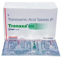 A box and a blister of generic Tranexamic Acid (500mg) tablets