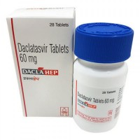 A box and a bottle of generic Daclatasvir 60mg Tablets