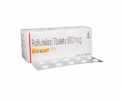 Box and blister strips of  Roflumilast 500mcg tablet ( Generic )