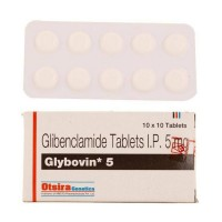 Blister strip and box of generic Glyburide ( Glibenclamide 5mg tablets )
