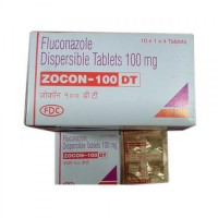 Box and blister strip of generic fluconazole 100mg tablet