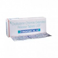 A box and a strip of generic Ditropan XL 5mg Tablets - oxybutynin chloride