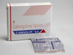 A box and a blister of generic Cabergoline 0.5 mg tablets